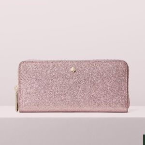 NWT Kate Spade Burgess court rose gold zip wallet
